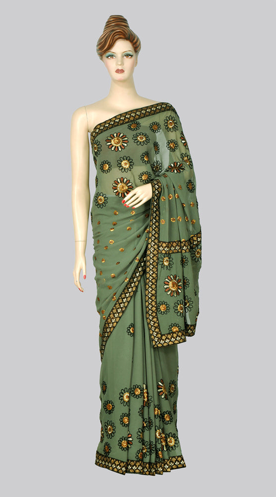 Refreshing Green Shimmer Saree