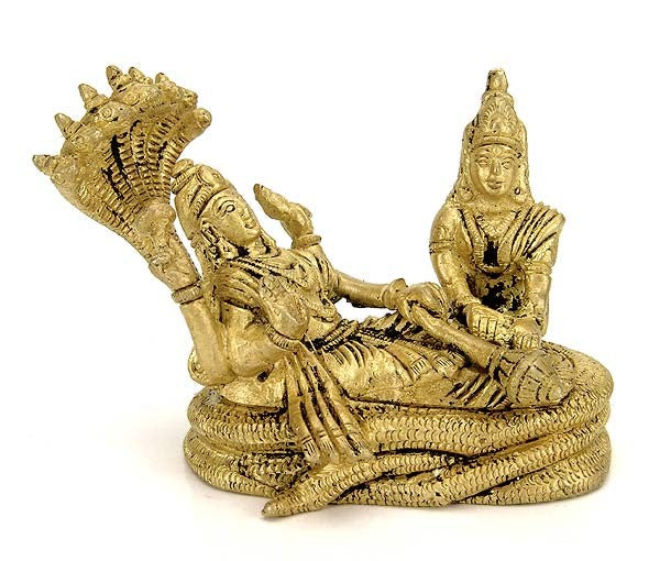 Lord Vishnu with Consort Lakshmi - Brass Miniature Statue