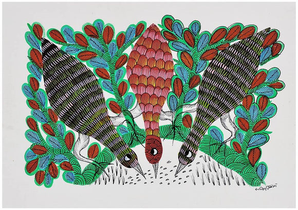 Friendly Feast - Gond Painting
