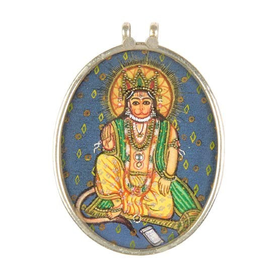 Blessing Lord Hanuman - Hand Painted Pendant