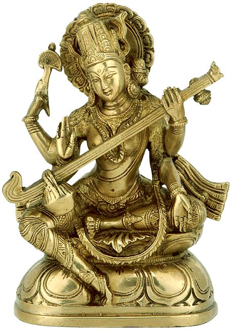 Goddess Saraswati with Veena Brass Statue