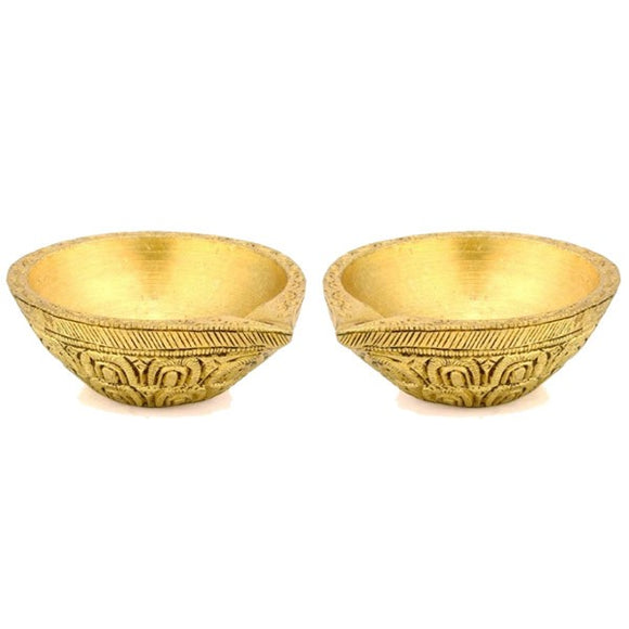 Beautifully Carved Brass Diya - Set of 2 pcs