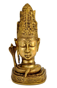 Brass Meditating Shiva Head Statue 4463