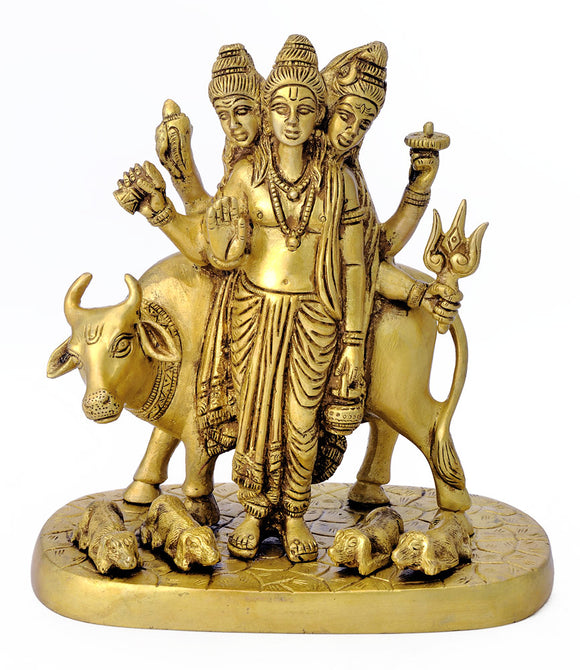 Lord Dattatreya Brass Sculpture