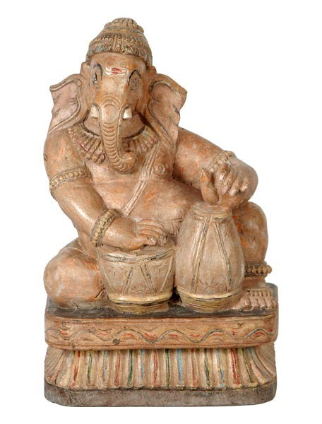 Devotee Ganesha - Wooden Sculpture