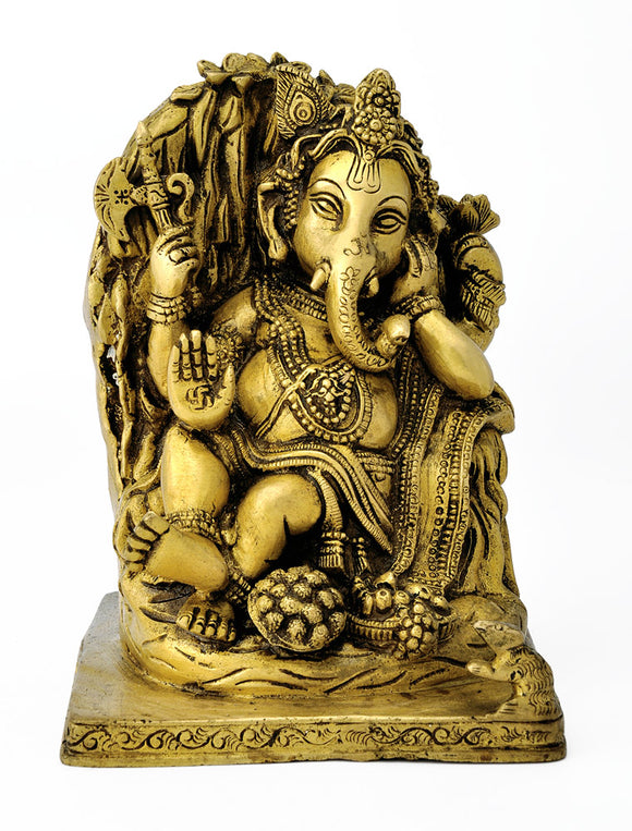 Seated Lord Gajanan Brass Statue