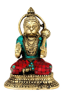Blessing God Hanuman Brass Statue
