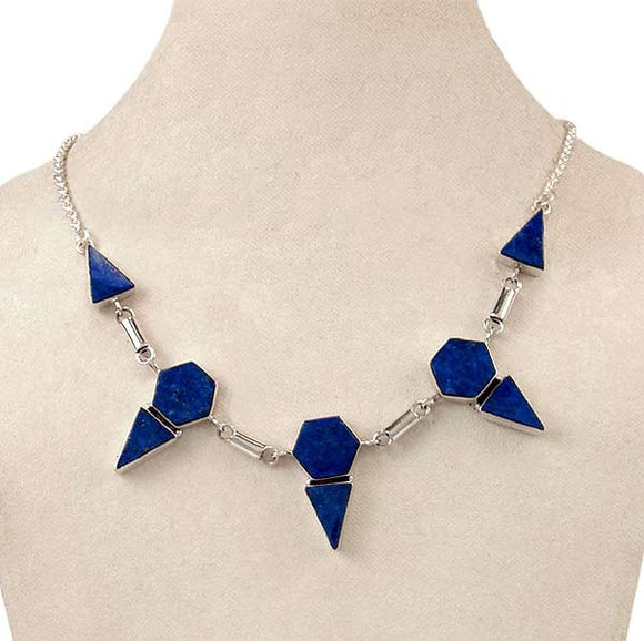 Blue Fire - Lapis Sterling Necklace