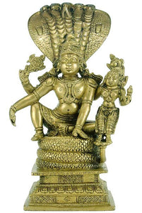 """Lord Luxmi Narain Seated on Sheshnag""- Brass Statue"