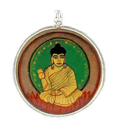 Blessing Buddha - Hand Painted Silver Pendant