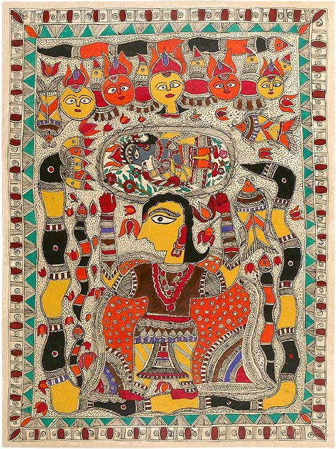 The Birth of Lord Krishna - Madhubani Painting