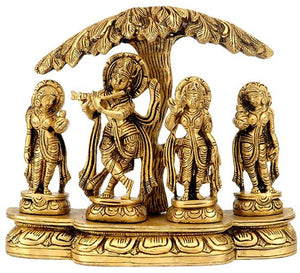 Krishna with Radha and Gopis - Brass Murti  BS0166