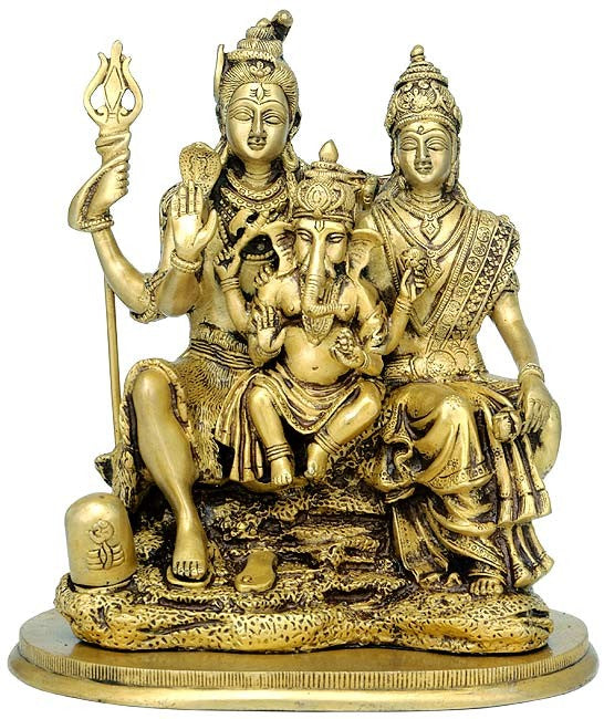 Shiva Parvati with Baby Ganesha - Brass Sculpture