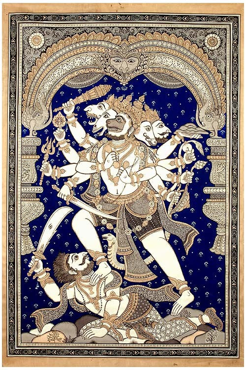 Virat Hanuman - Patachitra Painting