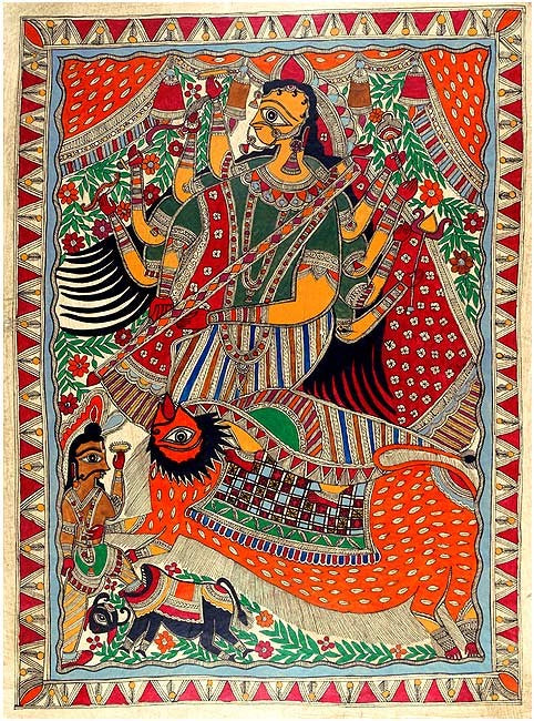 The End of Mahisasura - Mithila Painting