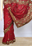 Pretty Maroon Saree With Heavy  Work