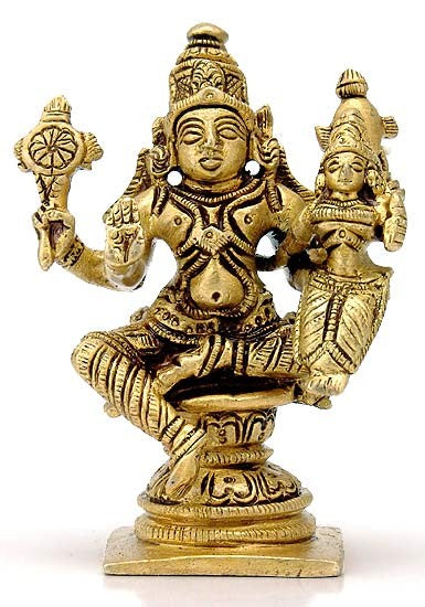 Lord Vishnu with Lakshmi - Brass Statue