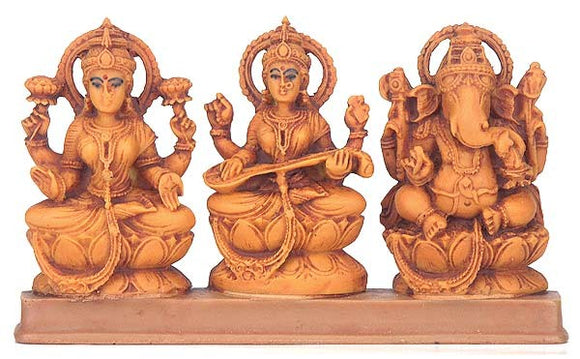 Lakshmi, Ganesh and Saraswati Set - Resin Statue