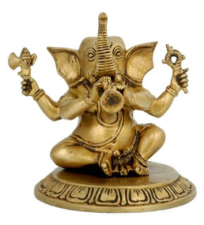 Ganesha Playing Shahnai - Brass Statuette  BS0168