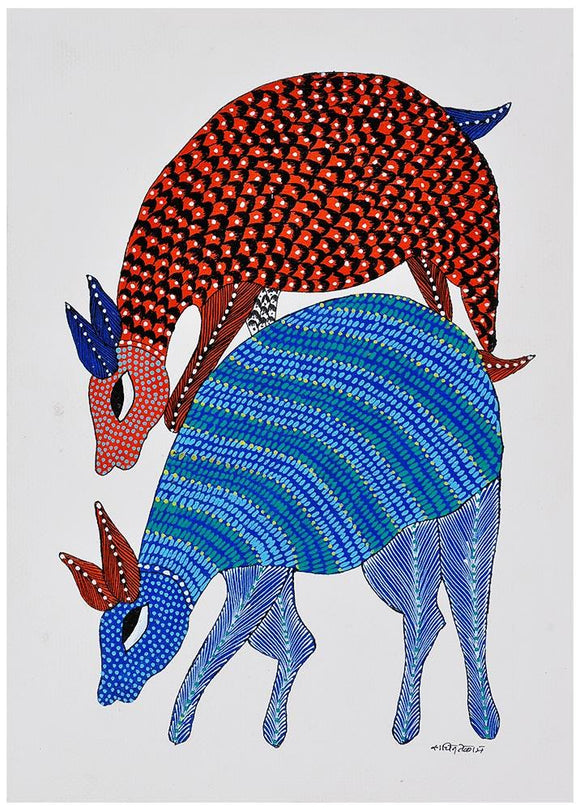 Two Deers -Gond Tribal Painting