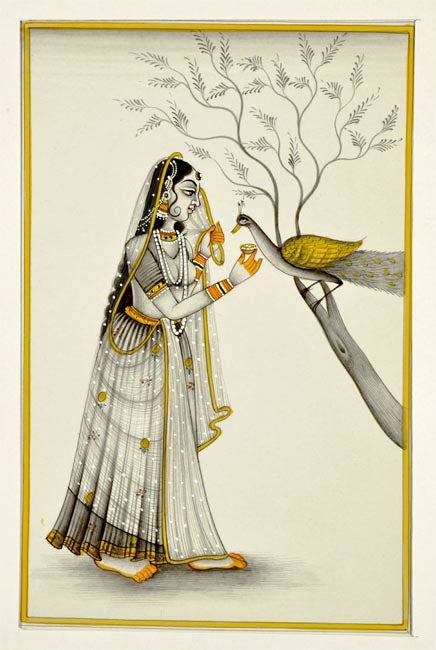 Beautiful Lady and Peacock - Ragini Miniature Painting