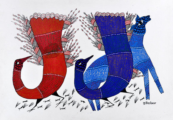 Peacocks - Gond Folkart Panting
