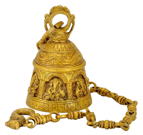 Lord Ganesha Engraved Hanging Brass Bell
