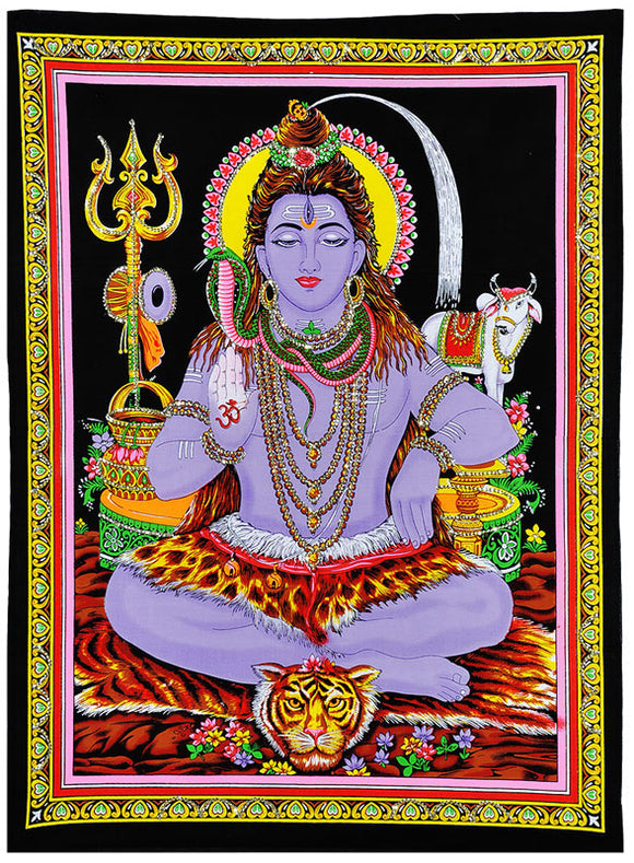 Blessing Shiva - Cotton Painting with Sequin Work