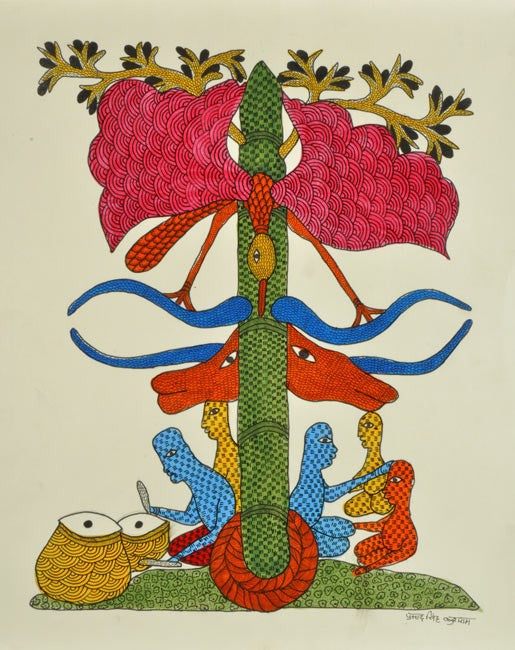Tree The Guardian - Gond Folk Painting