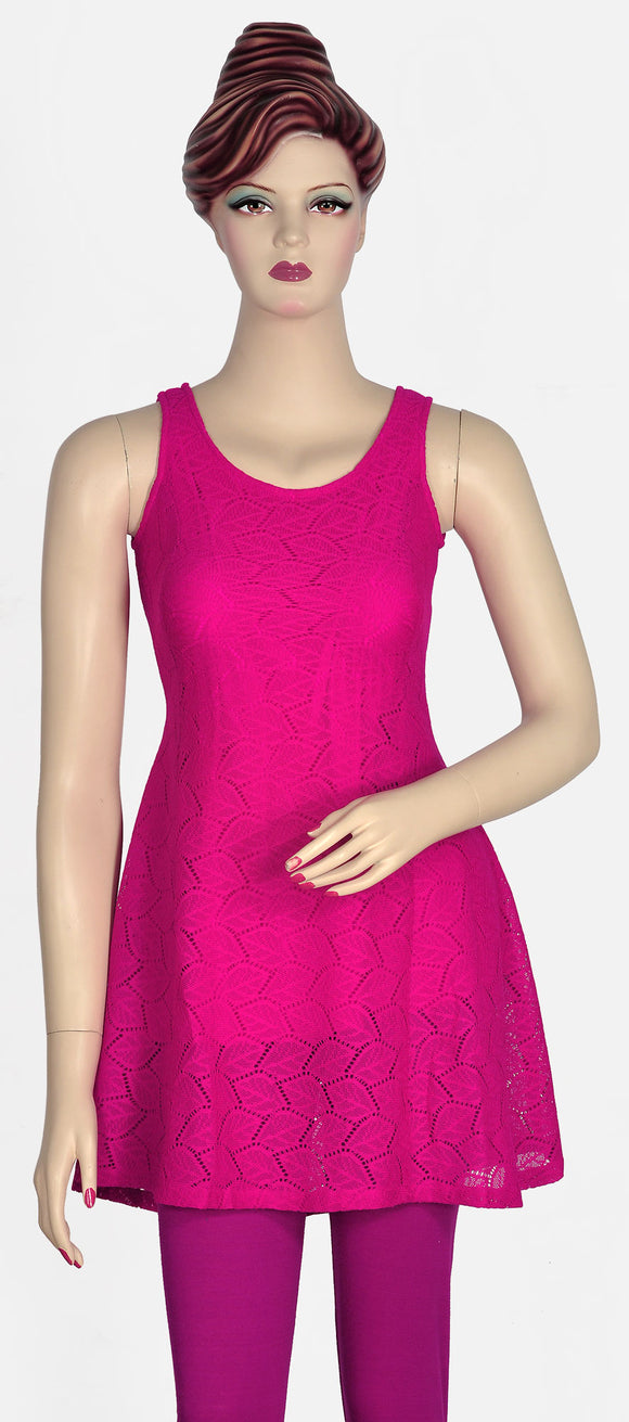 Beautiful Magenta Lace Kurti
