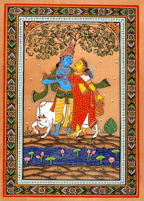 Lord Krsna With Gopi-Temple Art Painting of Puri