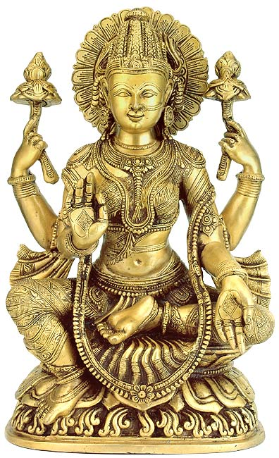 Goddess Laxmi Seated on Lotus Brass Statue