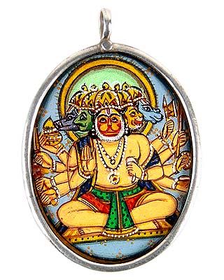 Five Headed Hanuman - Hand Painted Pendant