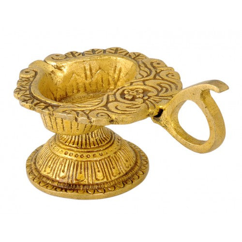 Floral Puja Brass Wick Lamp
