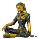 Antiquated Seated Goddess Green Tara Brass Figure
