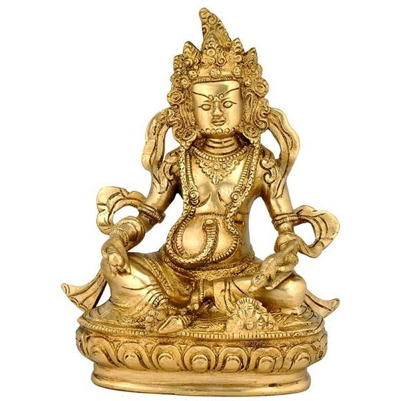 Seated Lord Kuber - Brass Sculpture