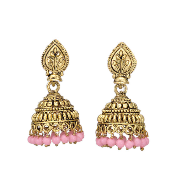Shining Golden Traditional Jhumi with Pink Beads