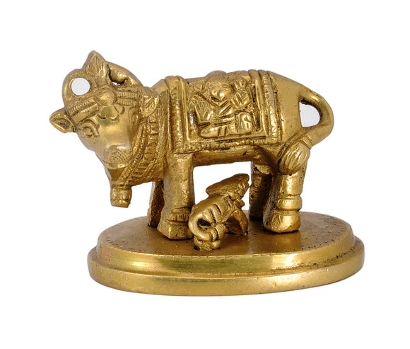 Brass Holy Cow and Calf Sculpture