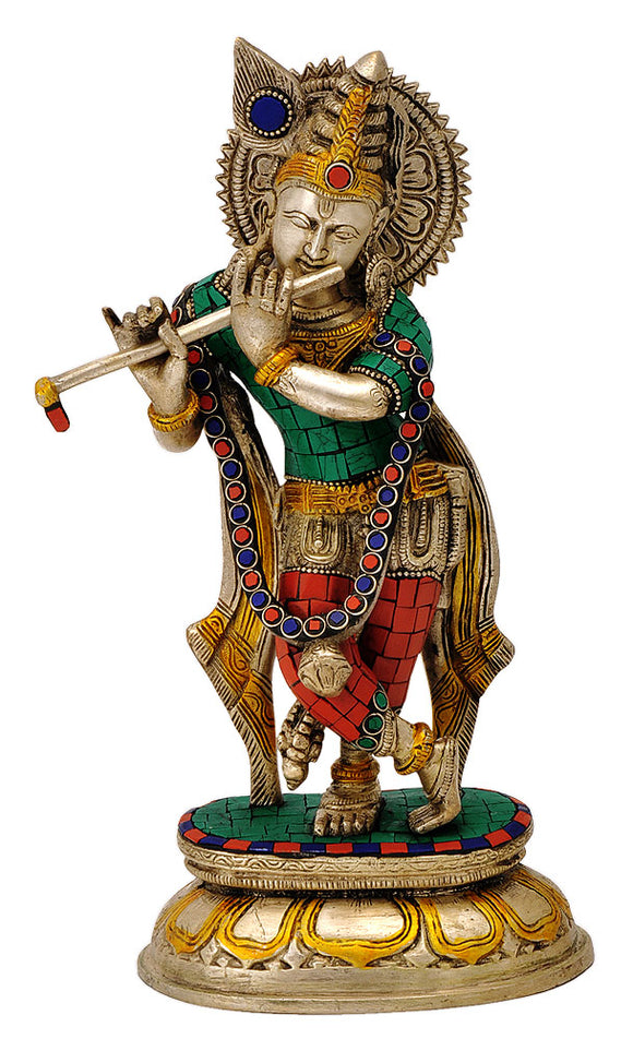 God Krishna Playing Flute Brass Figurine