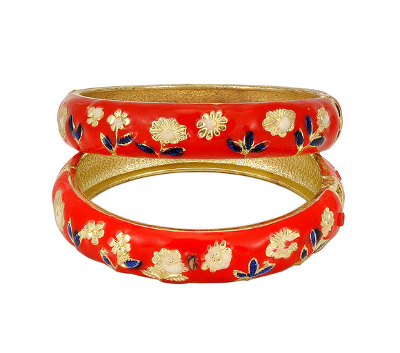 Red Metal Bangle Set