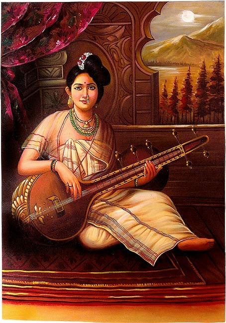 Malabar Lady with Veena - Oil Painting
