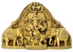 Dancing Lord Ganesha Brass Wall Plaque