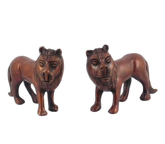Standing Lion Pair Brass Statue