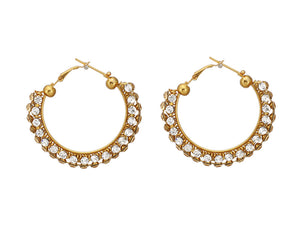 Golden Earring with Studded Crystal Stones