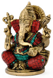 "Beautiful Lord Ganesha 7"" Religious - Brass Statue 4759"