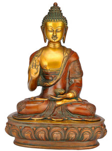 Brass Brown Finish Sitting on Lotus Meditating Shakyamuni Buddha Statue 3944