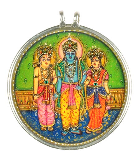 Lord Rama Sita and Lakshman Painted Pendant