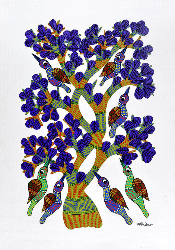 Birds On Tree Gond Panting
