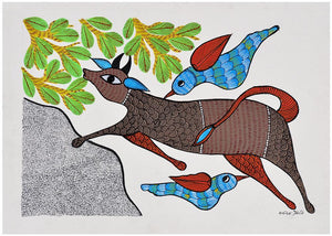 Cow & Bird - Gond Painting