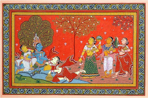 Murli Krishna with Gopis - Pata Painting